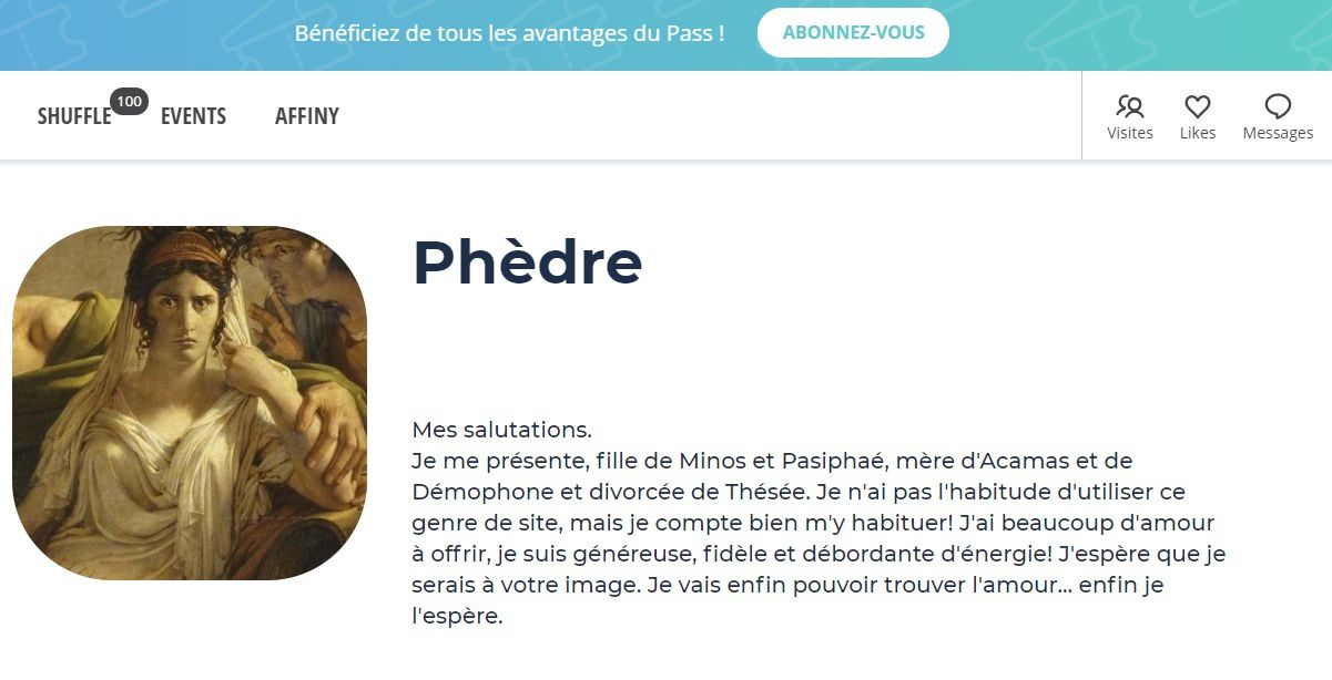 Profile Meetic de Phèdre