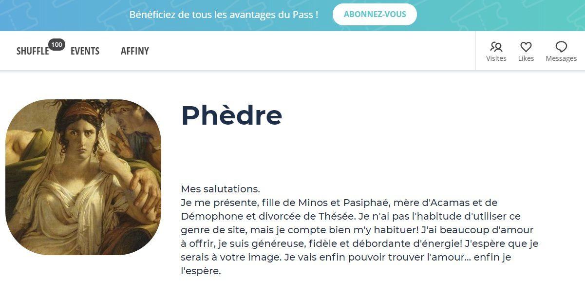 Profile Meetic de Phèdre