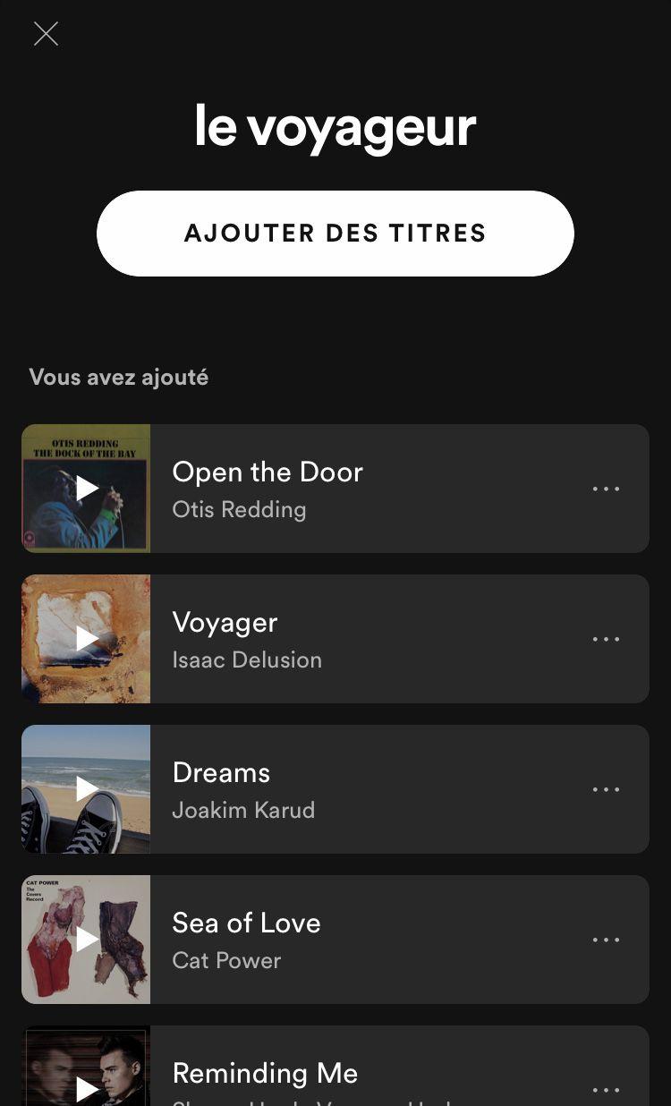 Playlist - Le Voyageur
