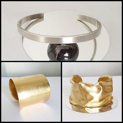 Bracelet argent massif et manchettes dorées à l'or fin