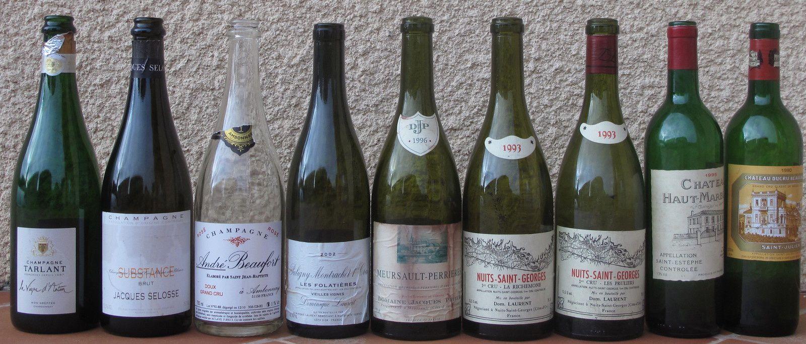 Repas-Dégustation avec Tarlant-Selosse-Beaufort-Prieur-Dom. Laurent-Haut Marbuzet-Ducru Beaucaillou