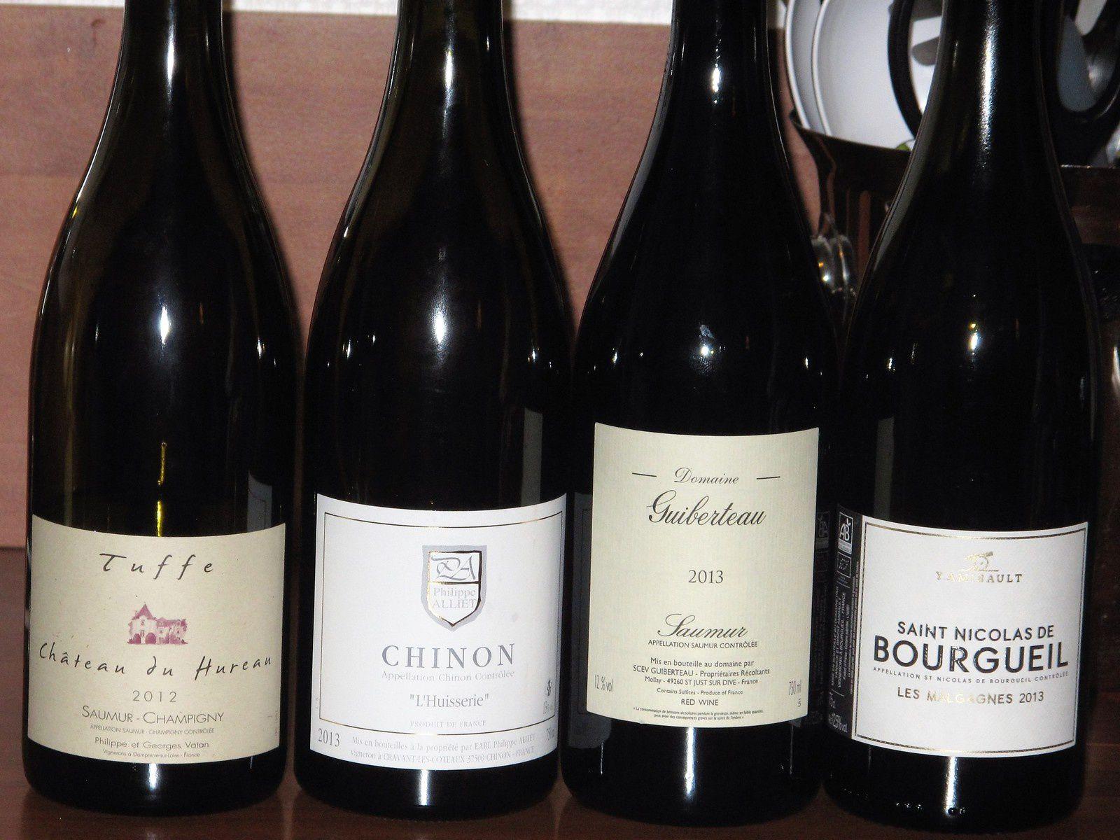 Quatre vins de Loire cépage Cabernet Franc