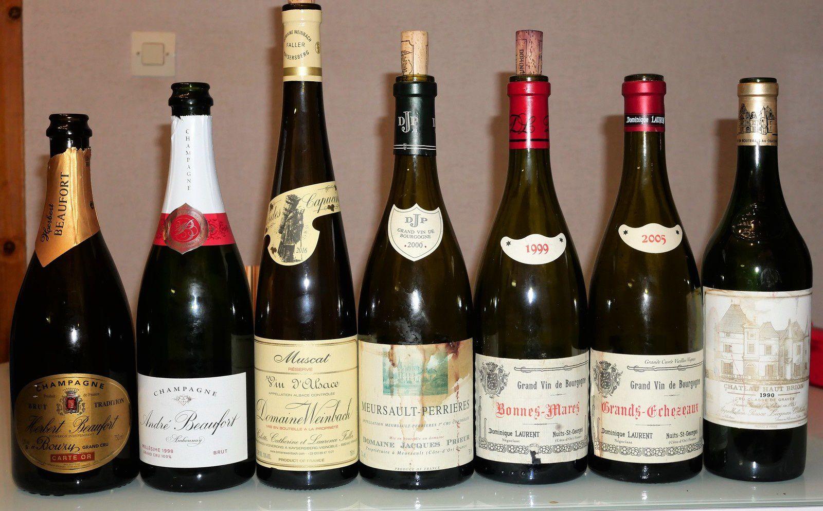 Repas dégustation avec Champagne Herbert Beaufort, Anfré Beaufort, Weinbach, Prieur, Dom. Laurent, Haut-Brion