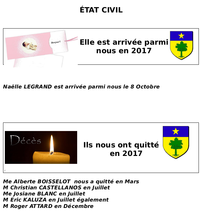 Barrême Etat civil 2017