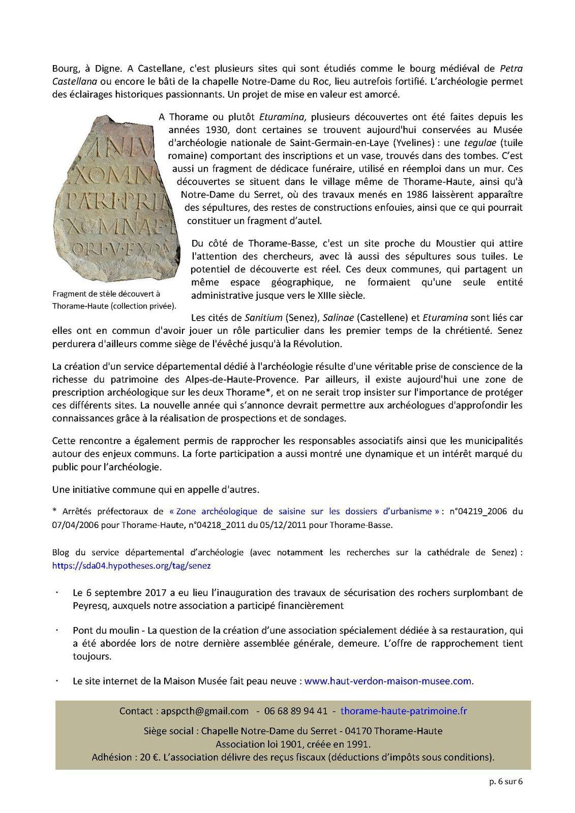 La Lettre d'info  de janvier 2018 de l'association Patrimoine Culturel de Thorame Haute