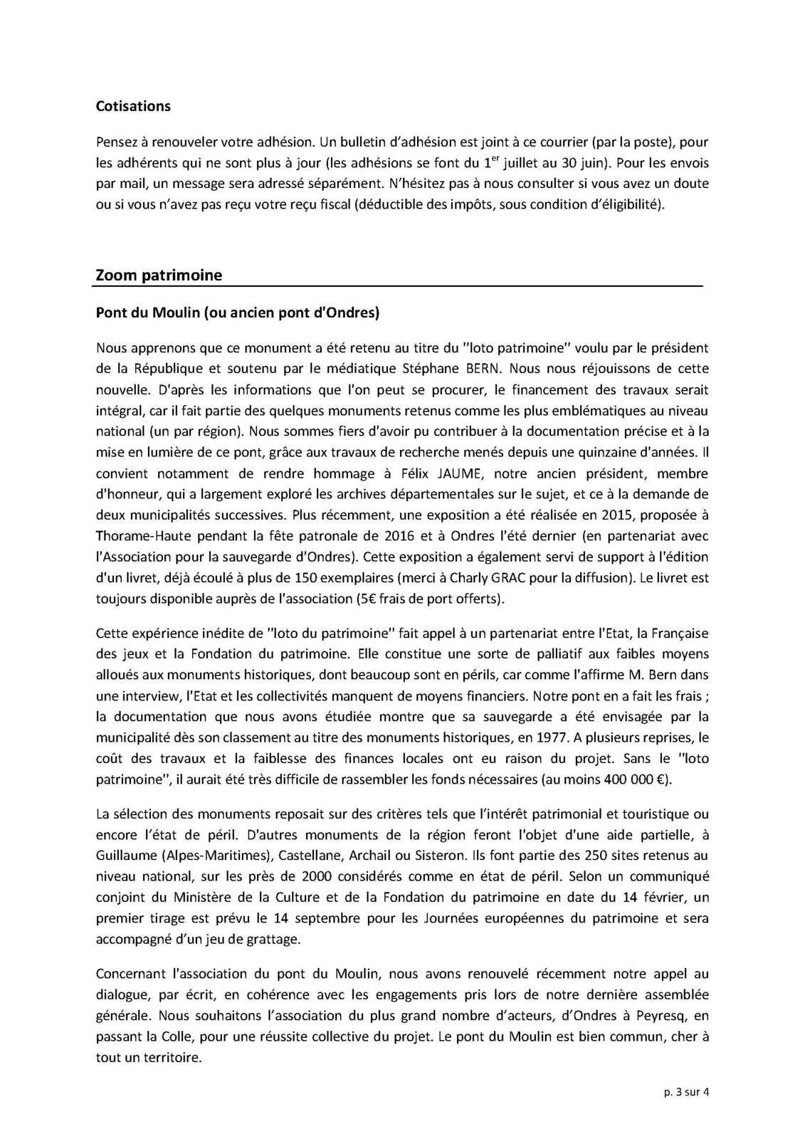 La Lettre d'information de l'Association du patrimoine de Thorame Haute du mois de mai