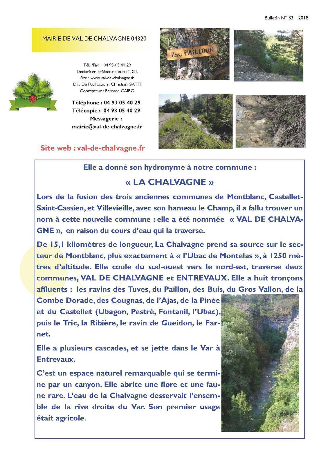 Le Bulletin Municipal de Val de Chalvagne 2018