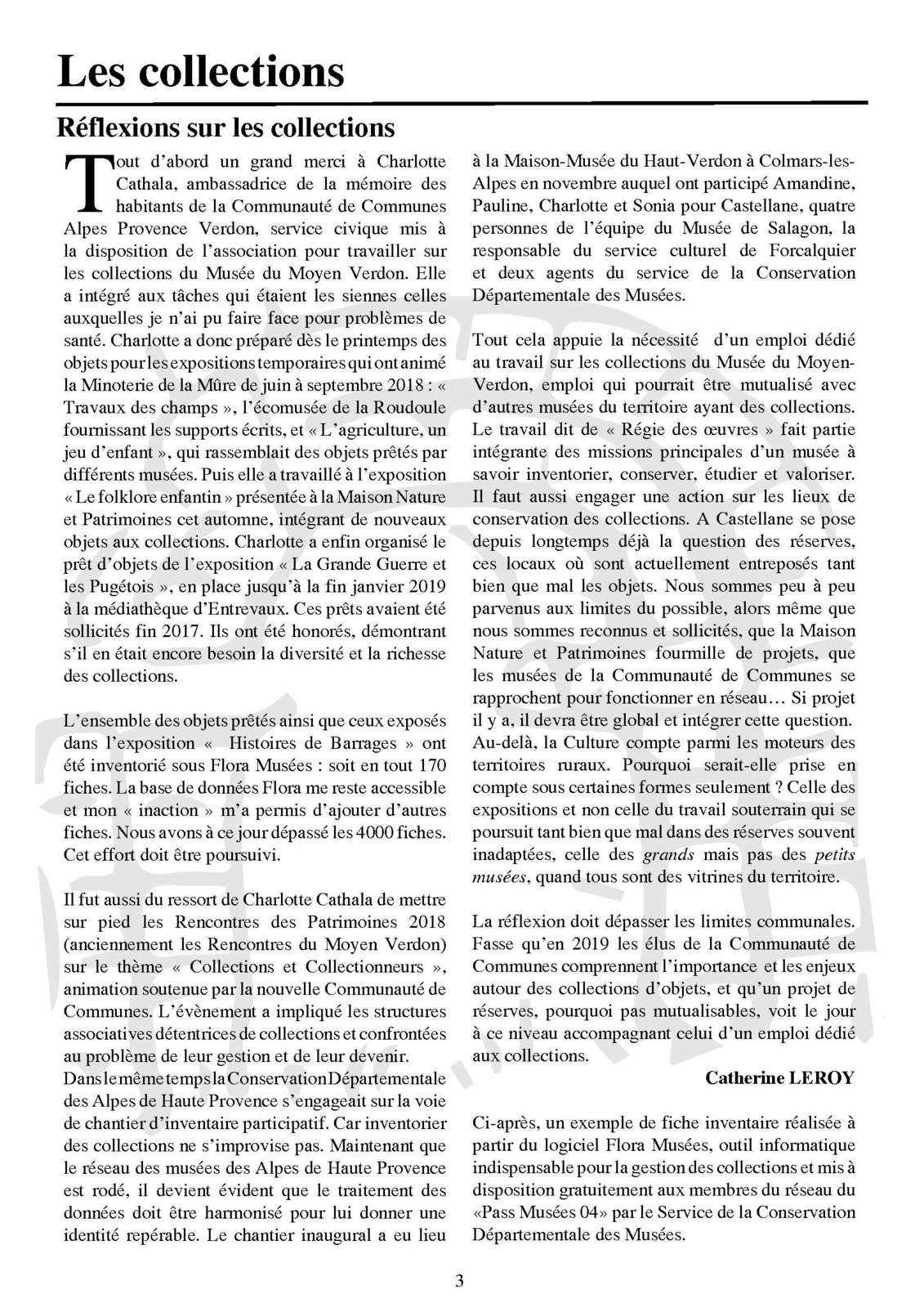 La lettre d'information 2019 de l'Association Pétra Castellana