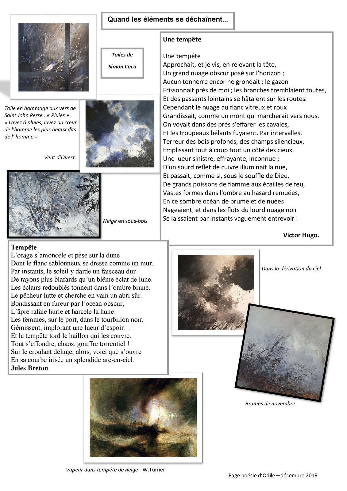 La page poésie d'Odile  ;«Quand les éléments se déchaînent»