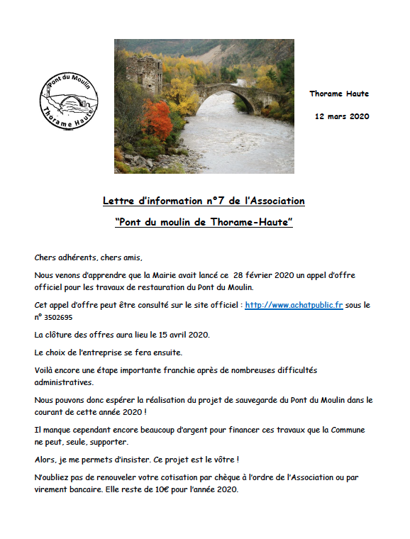 Lettre d'info  de l'association  pont du moulin