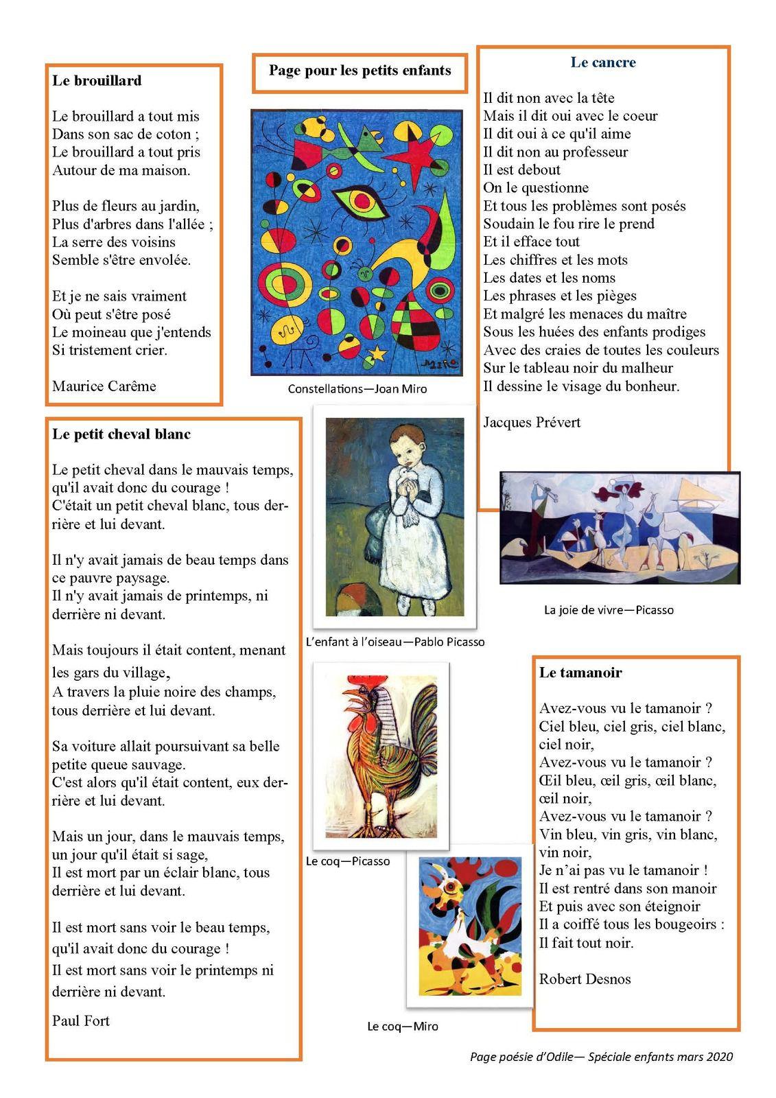 La page poésie d'Odile  : page enfants