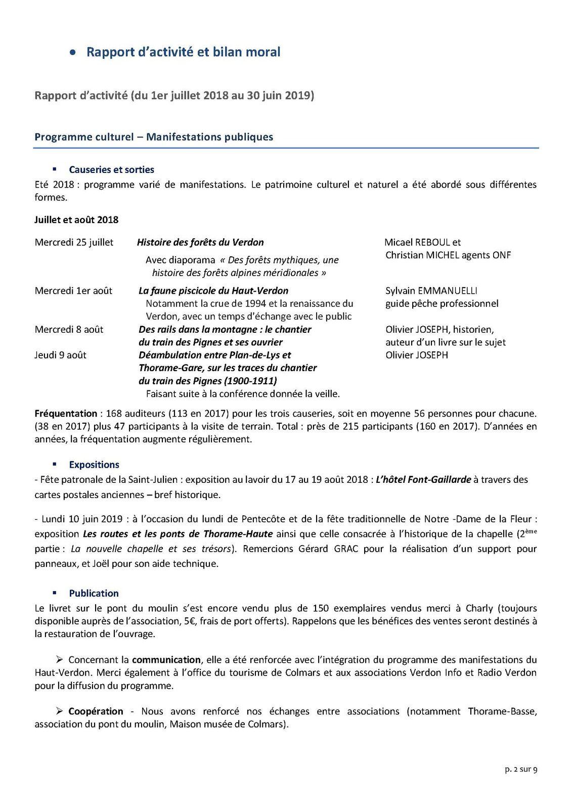 compte rendu de l'AG de l'association du Patrimoire Culturel de Thorame Haute 2019