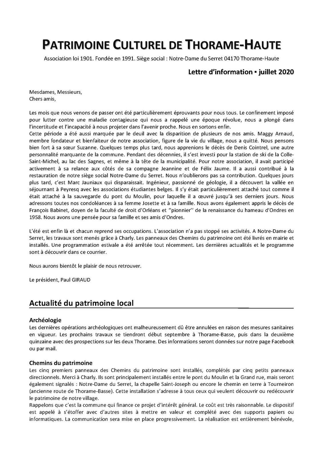 Lettre d'information de l'association Patrimoine Culturel de Thorame Haute