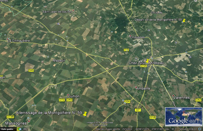 Itinéraire suivi par la montgolfière N° 59 ce samedi 13 Août 2016 de 7H30 à 8H30.