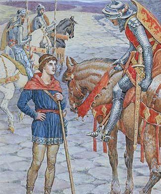 Perceval fait une première rencontre avec des chevaliers...