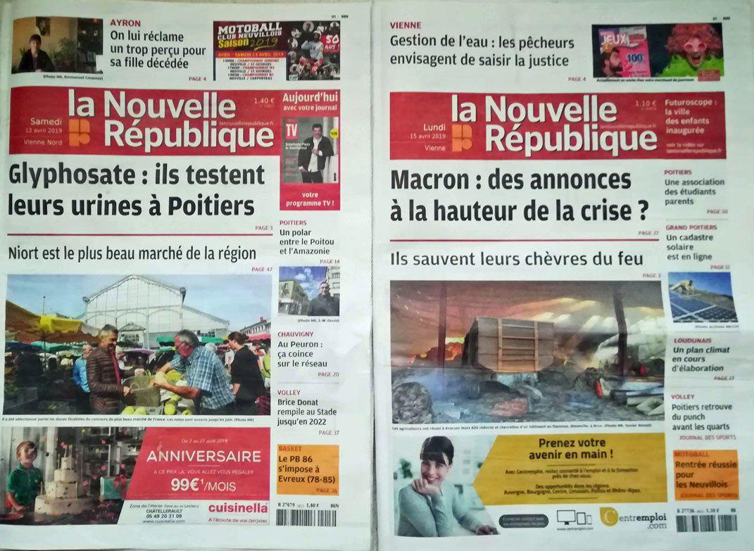 """Grands titres de """"La Nouvelle République"""" de ces Samedi et Lundi..."""