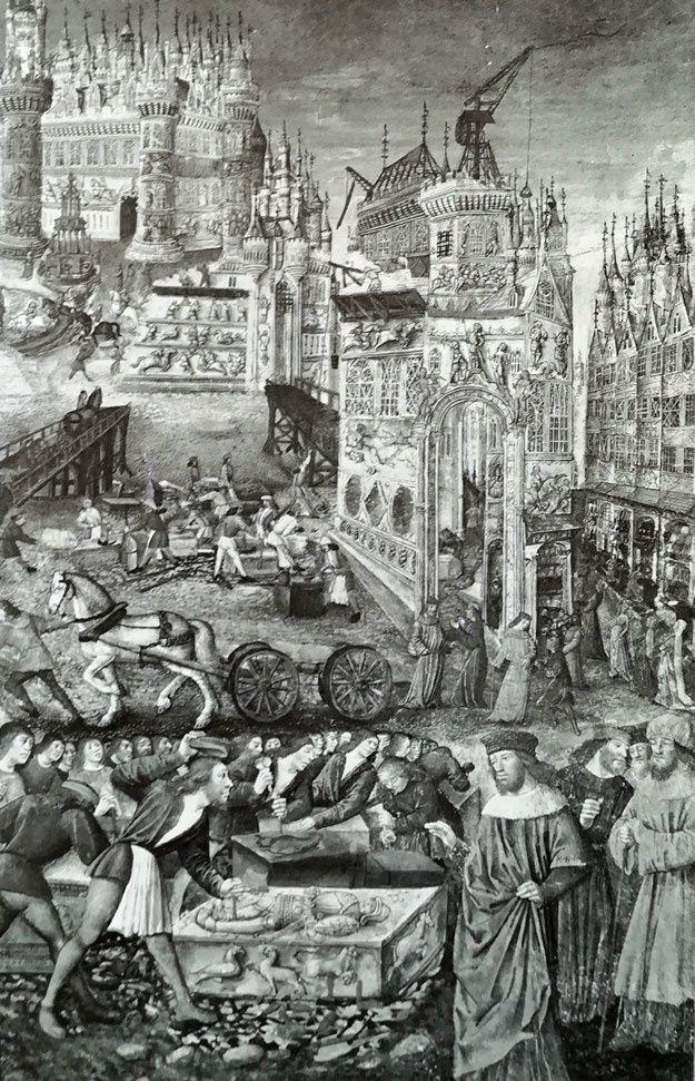 Gravure du XVe siècle  : un chantier au Moyen âge  (Edification de Troie)...