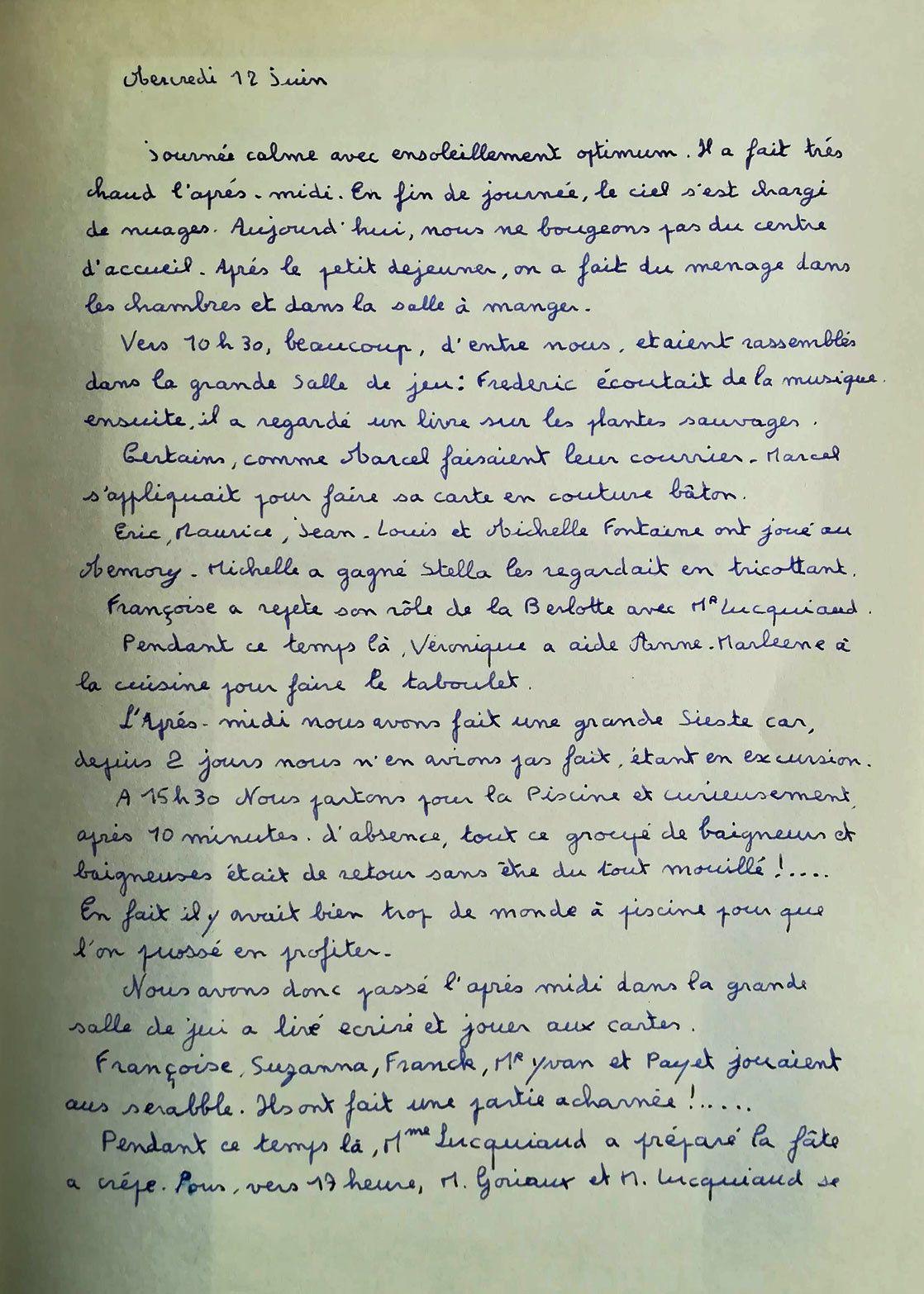 Compte -rendu de la journéedu 12 juin écrit par Jean-Michel.