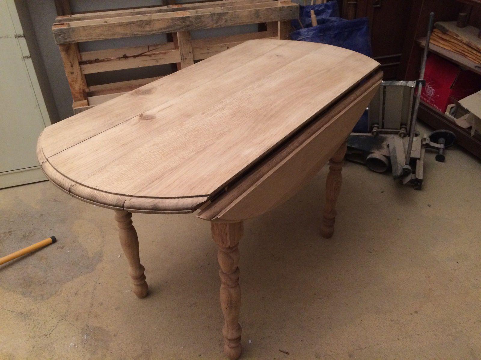 trestauration de meubles, table en chêne, table ovale, lau bois créations