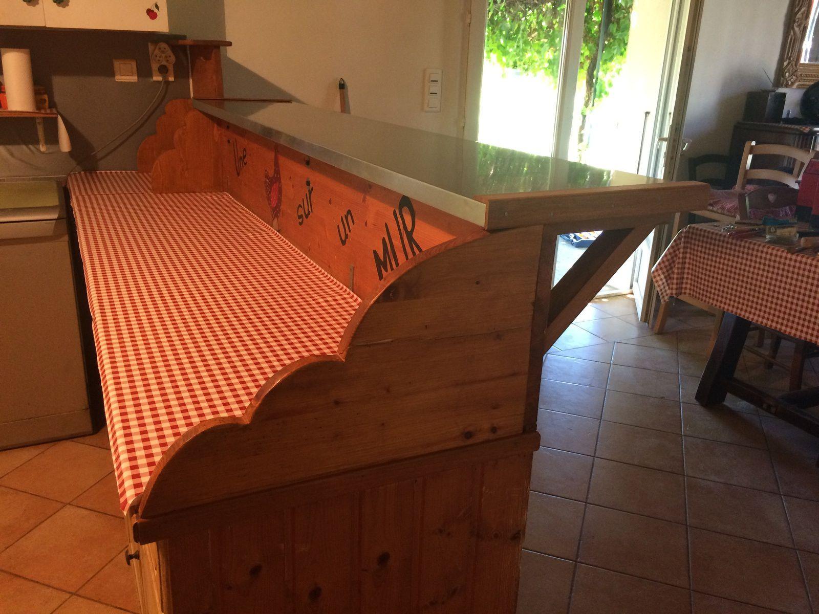 comptoir en zinc, bar en zinc, bar, cuisine, zinc, équerre bois, plan de travail,