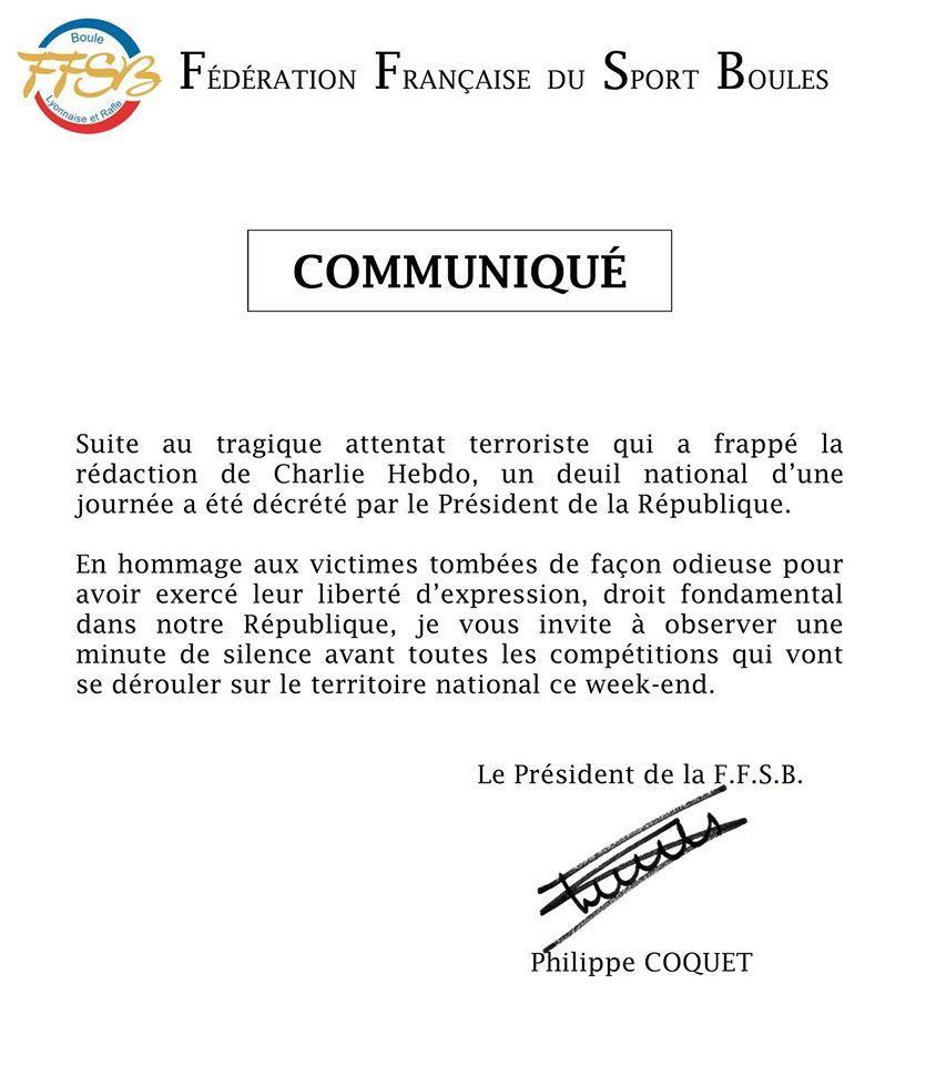 Message du Président de la Fédération Française du Sport Boules