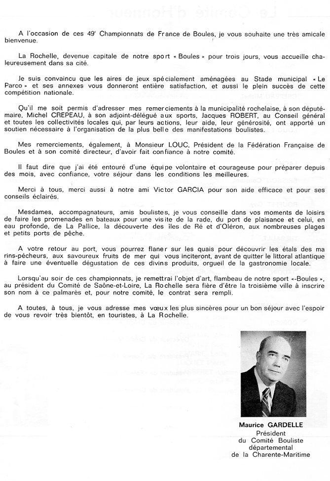 1975 Extraits du Programme du Championnat de France quadrettes