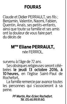 Obsèques de Mme PERRAULT Eliane, maman de Didier PERRAULT de Port des Barques