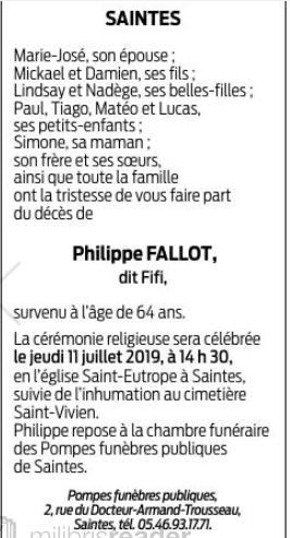 Décès de Philippe FALLOT