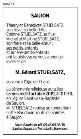 Décès de Gérard STUELSATZ