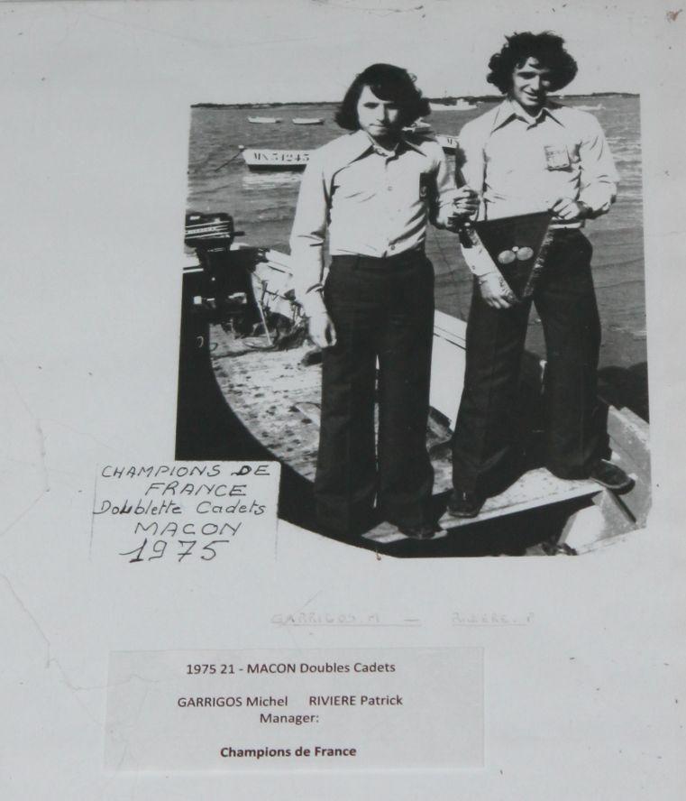 1975 Michel GARRIGOS (Saintes) et Patrick RIVIERE (Port des Barques) Champions de France CADETS