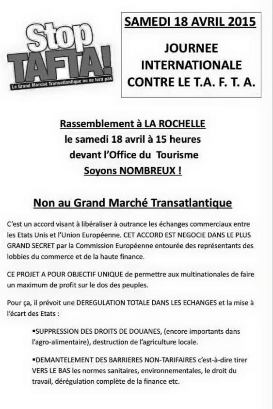 18 avril, La Rochelle : NON au Grand Marché Trantatlantique (TAFTA)