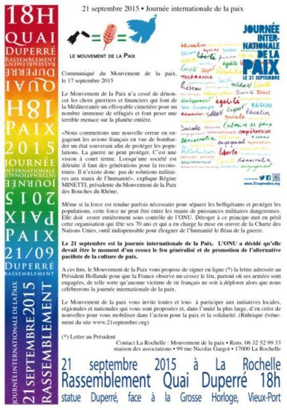 21 septembre : journée internationale de la paix