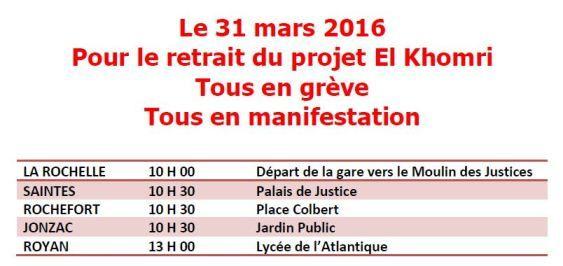 Le 31 mars : en Charente Maritime appel unitaire pour refuser un retour au 19iè siècle !