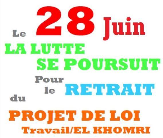 28 juin 2016 : Nouvelle journée d'action contre la loi El Khromi en Charente-Maritime