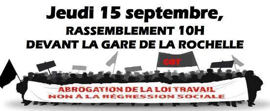 Le 15 septembre : mobilisation unitaire pour l'abrogation de la loi travail !