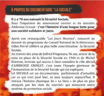 """""""La Sociale"""" projetée à Rochefort-sur-Mer le vendredi 20 Janvier 2017, à La Rochelle le samedi 11 février"""