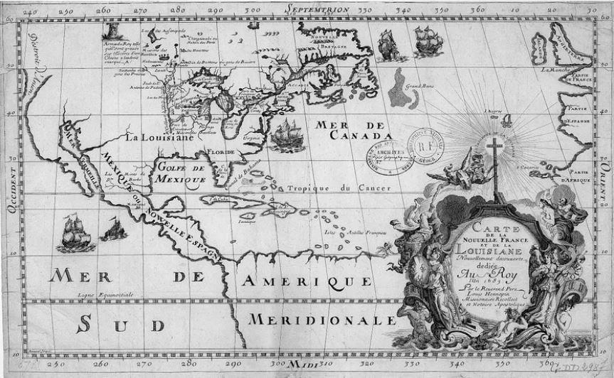 Carte de la Nouvelle France et de la Louisiane nouvellement découverte, par le révérend père Louis Hennepin.• Crédits : Gallica, Bibliothèque nationale de France