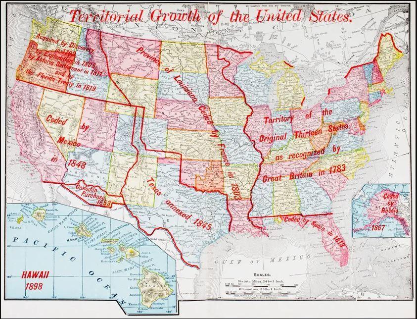 arte de 1898 illustrant le développement territorial des Etats-Unis• Crédits : Universal History Archive/Universal Images Group - Getty