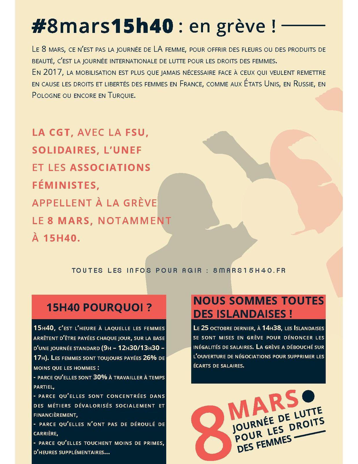 #8mars15h40: en grève - journée internationale de lutte pour les droits des femmes