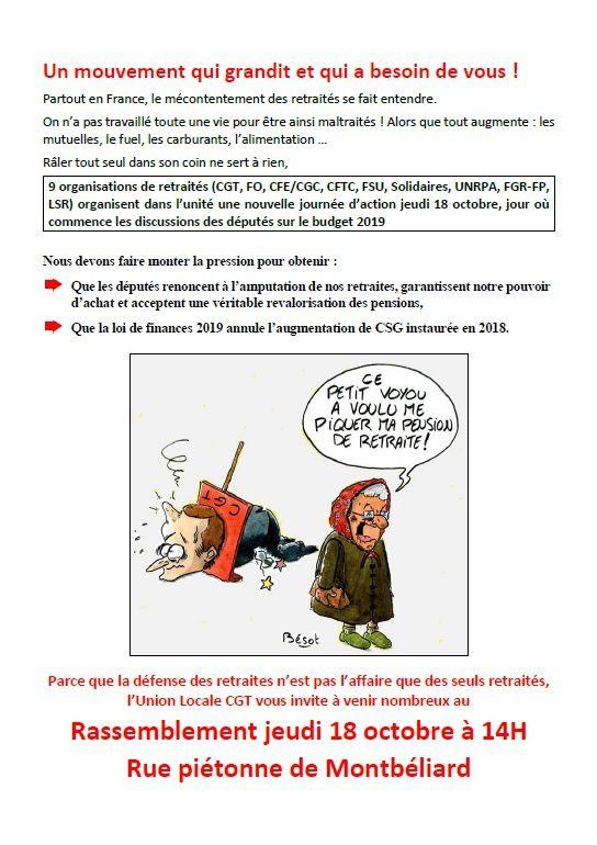 Rassemblement jeudi 18 octobre 2018 à 14h00 Rue piétonne de Montbéliard