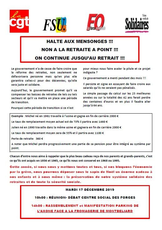 NON A LA RETRAITE A POINT !!! 14H00 Montbéliard au Parking Axone