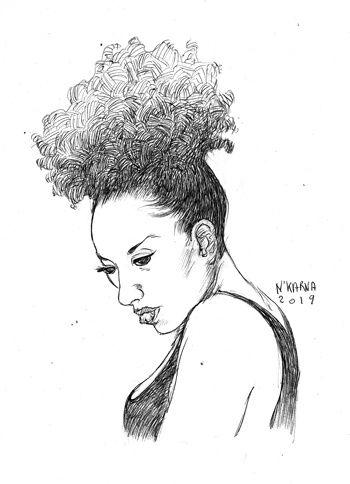 #inktober Nkarna ink encre dessin draw black woman noire femme plume feutre pen stylo bille