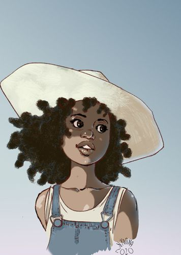 Djamila Knopf, dessin, illustration, defi draw this in your style, chapeau,