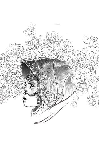 dessin art illustraion olivia ink encre noir et blanc black and white trait bd comics portrait