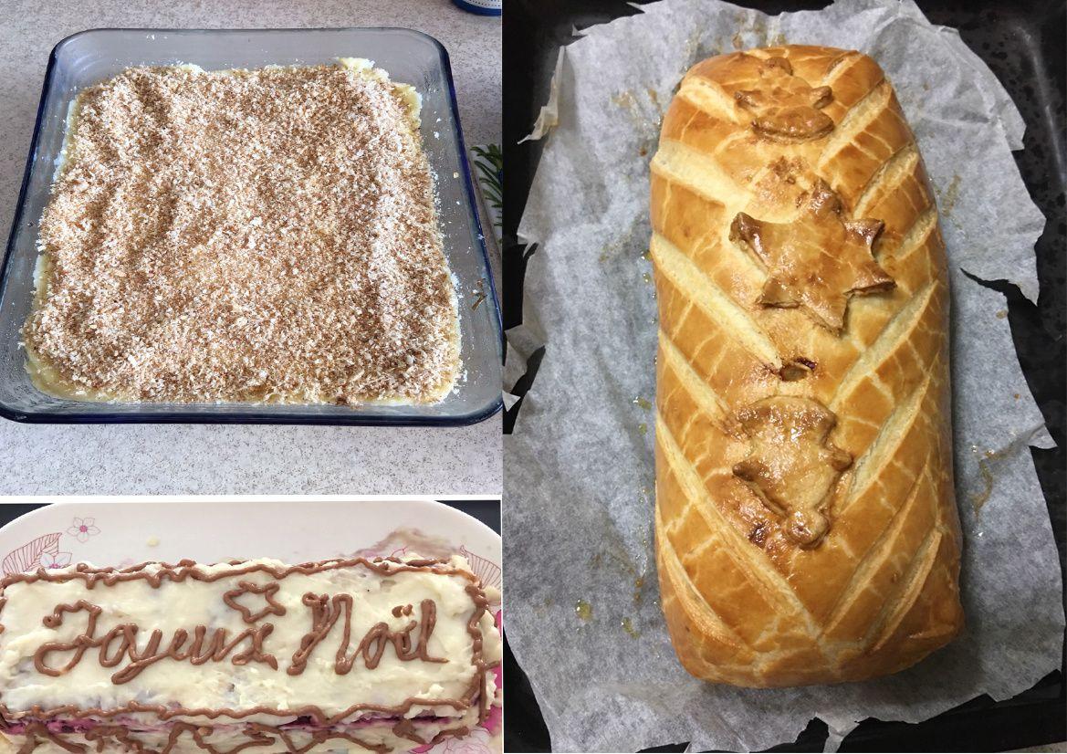 Un des plat de hachis parmentier au canard, la Bûche de Noël et le super filet mignon en croûte