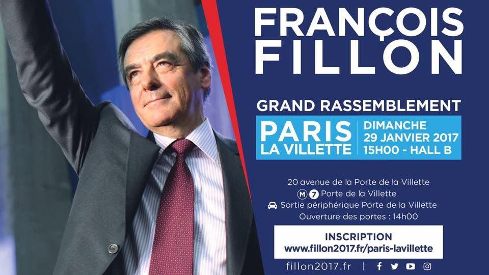 Meeting de François Fillon, dimanche 29 janvier à la Villette