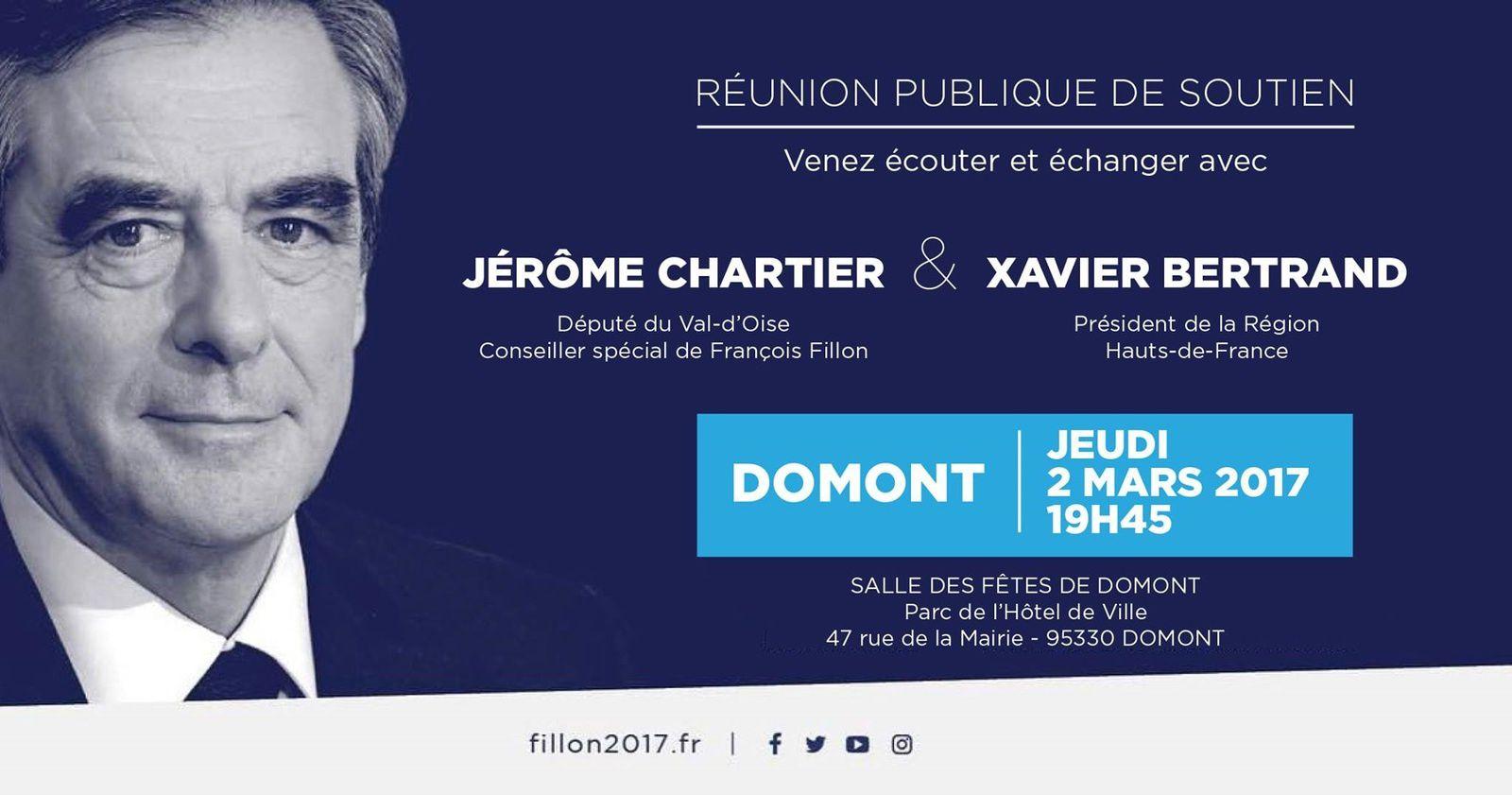 Jeudi 2 mars à Domont : réunion publique de soutien à François Fillon