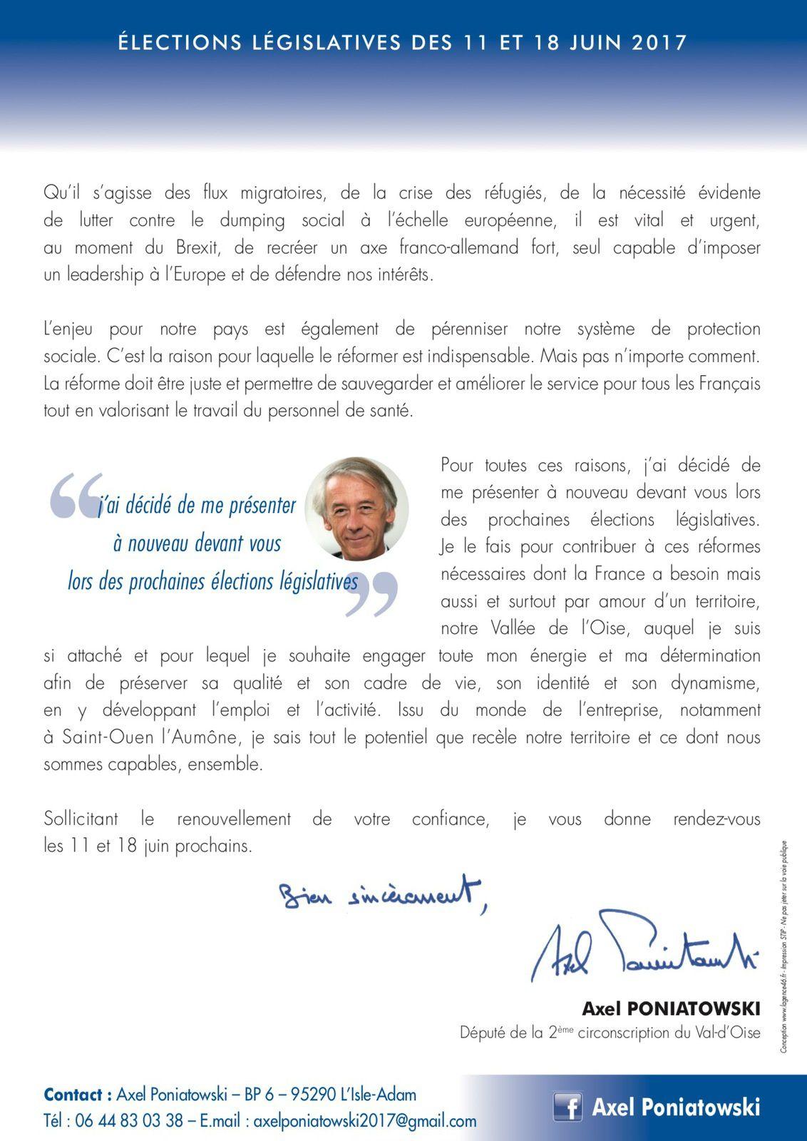 Lettre d'annonce de candidature d'Axel Poniatowski