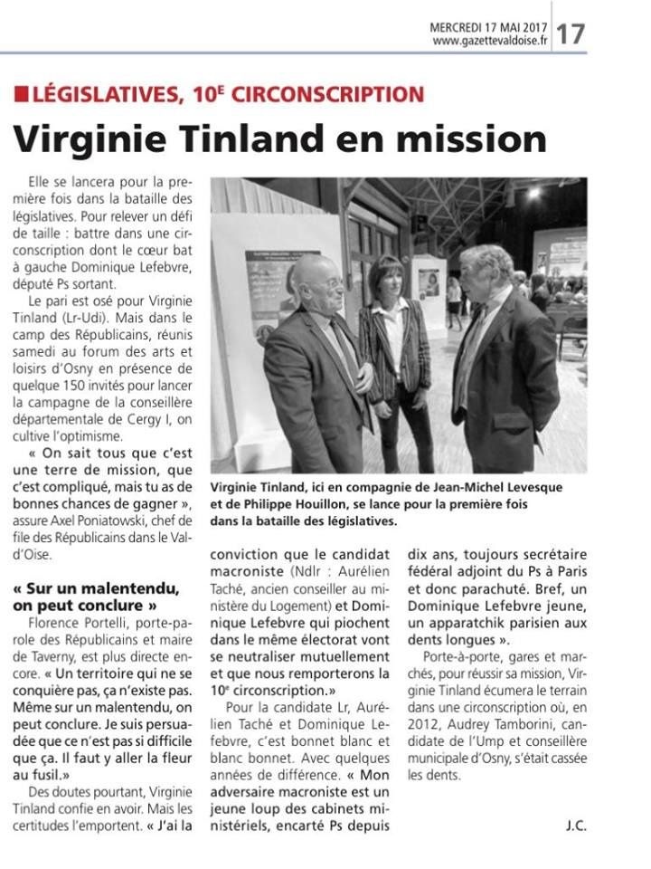 Virginie Tinland en mission (La Gazette)