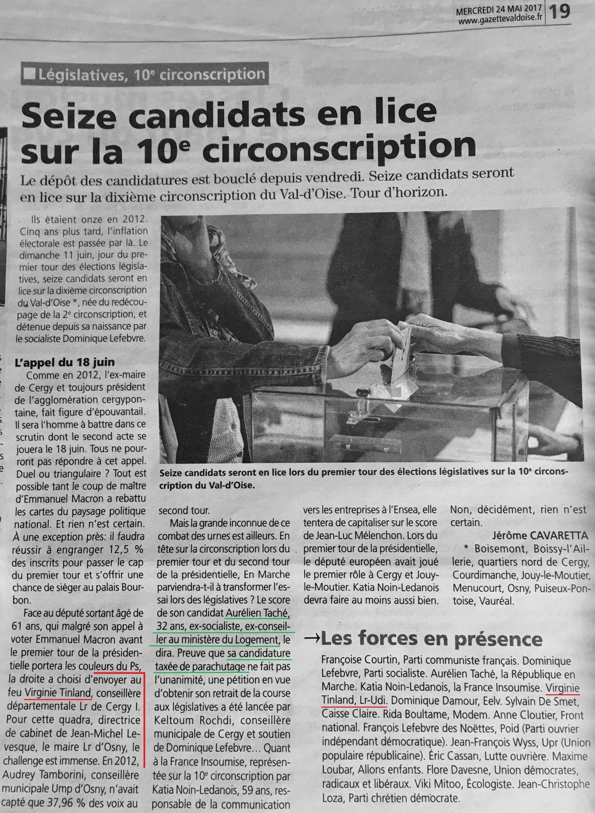 Seize candidats en lice sur le 10e circonscription (La Gazette du Val d'Oise)